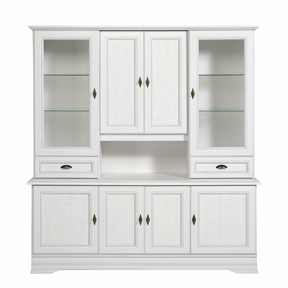 buffet buffetschrank vitrinenschrank speisezimmer landhaus kiefer weiss neu eur 699 00. Black Bedroom Furniture Sets. Home Design Ideas