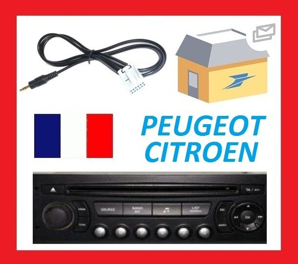 cable mp3 phone mobile auxiliaire aux pour autoradio citroen c3 peugeout 206 etc chf. Black Bedroom Furniture Sets. Home Design Ideas