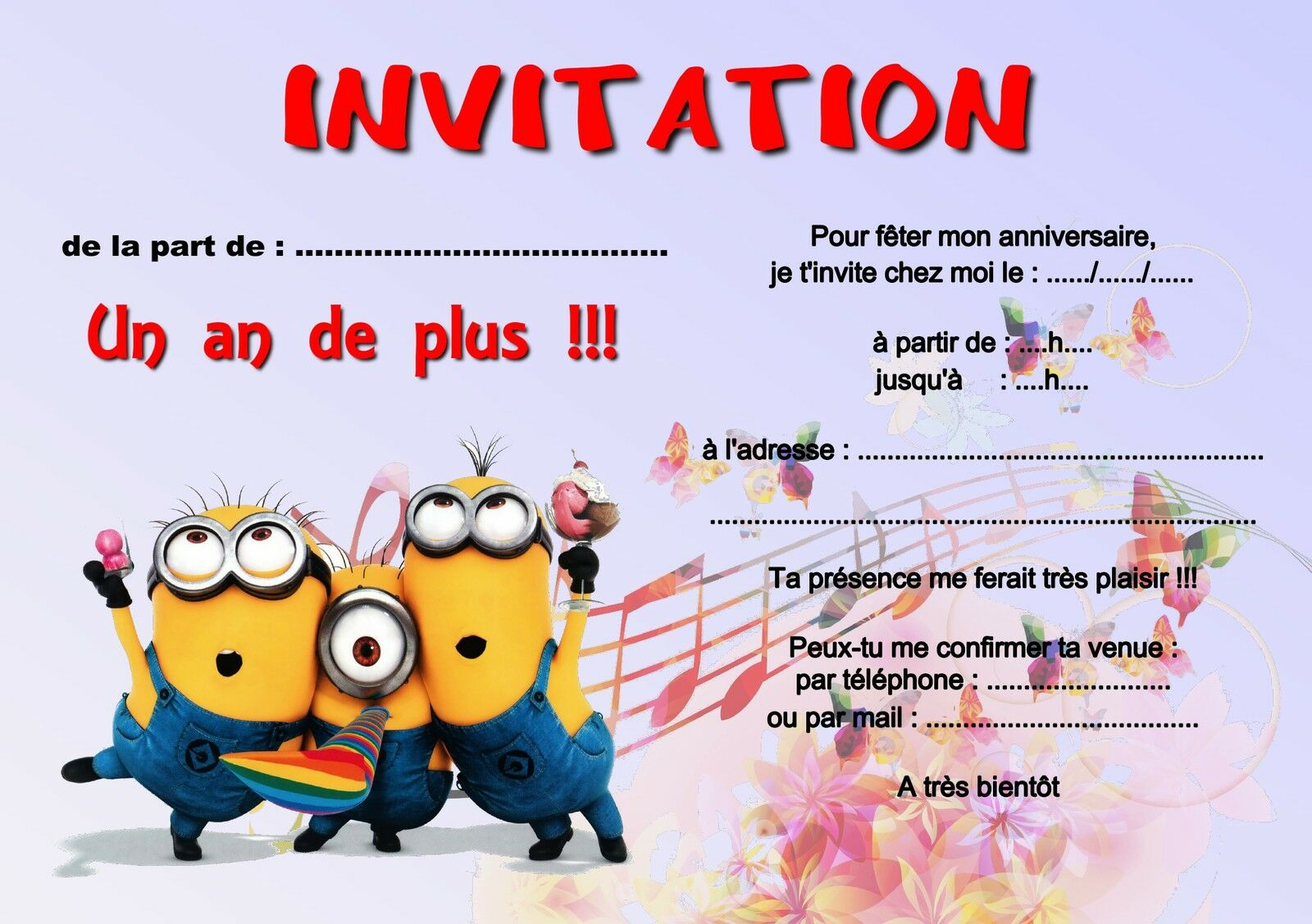 5 ou 12 cartes invitation anniversaire les minions r f 255. Black Bedroom Furniture Sets. Home Design Ideas