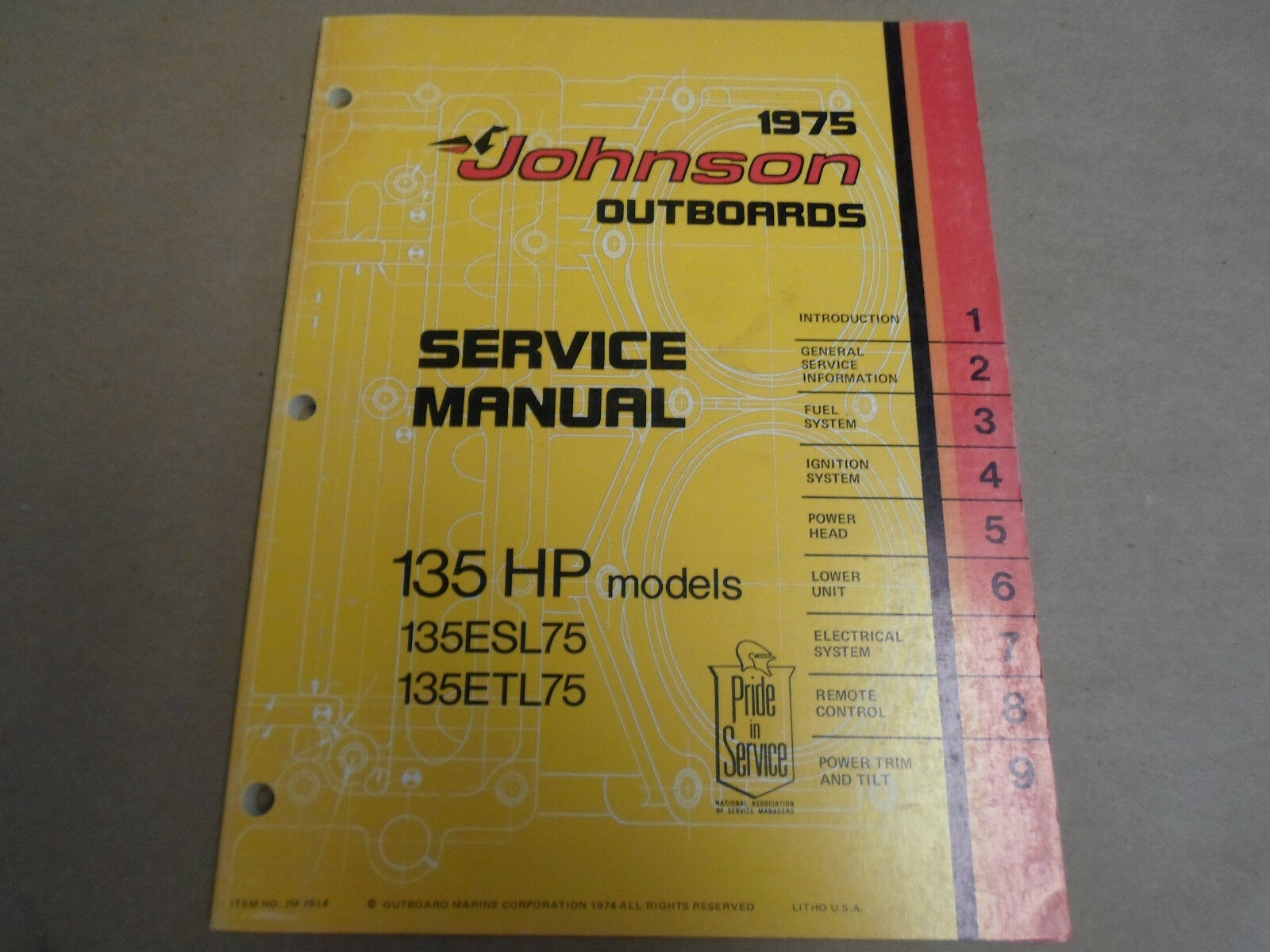 1 of 12Only 1 available 1975 Johnson Outboards Service Shop Manual 135 HP  135ESL75 ...