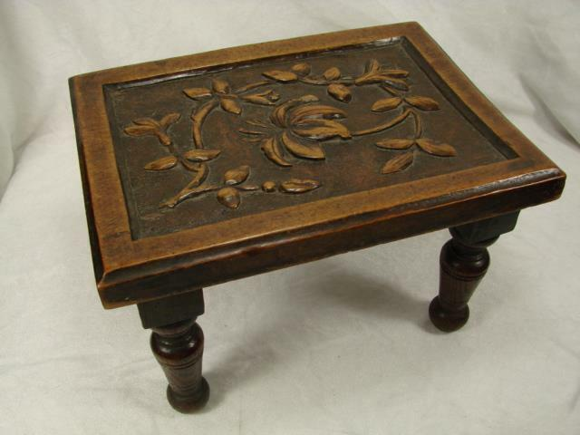 Beautiful 19Th C Carved Wooden Footstool On Four Turned Legs, Foliate Decoration