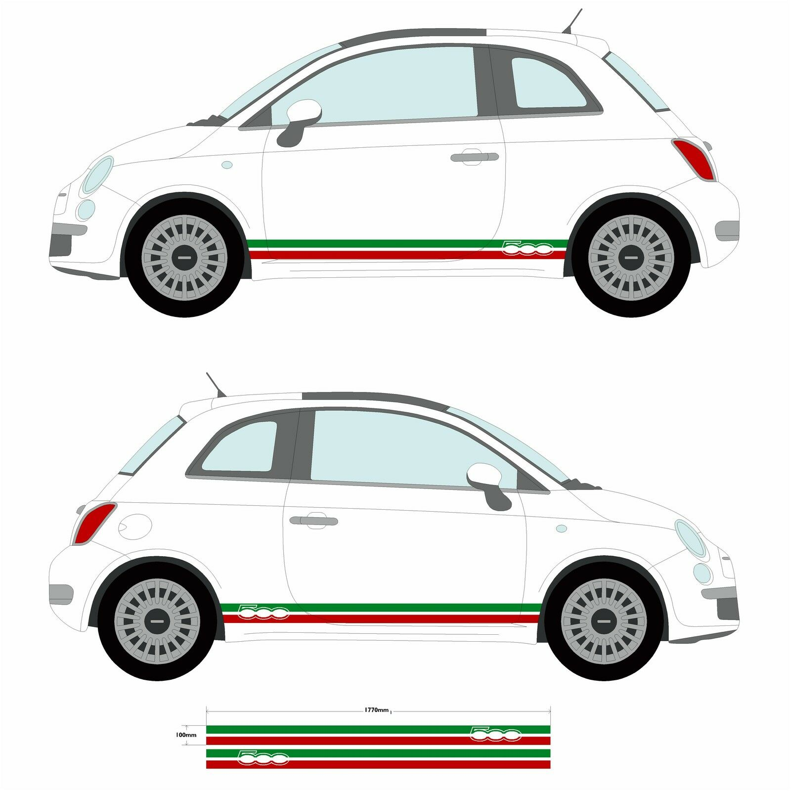 fiat 500 italian flag side skirt stripes stickers car decal graphic picclick uk. Black Bedroom Furniture Sets. Home Design Ideas