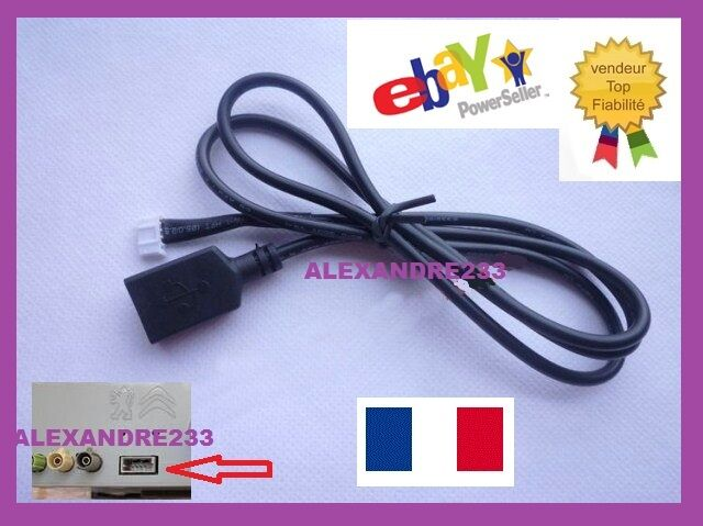 cable usb peugeot citroen autoradio rd9 rd45 rd43 aux usb psa vendeur pro eur 100 00. Black Bedroom Furniture Sets. Home Design Ideas