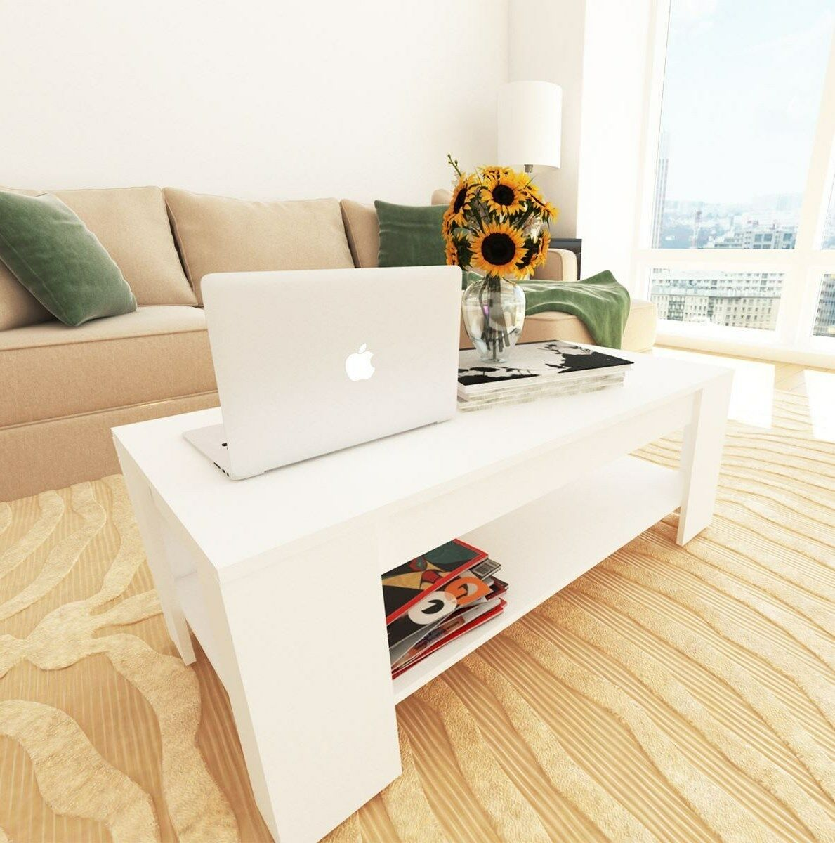 New Caspian White Lift Up Top Coffee Table With Storage Shelf Picclick Uk