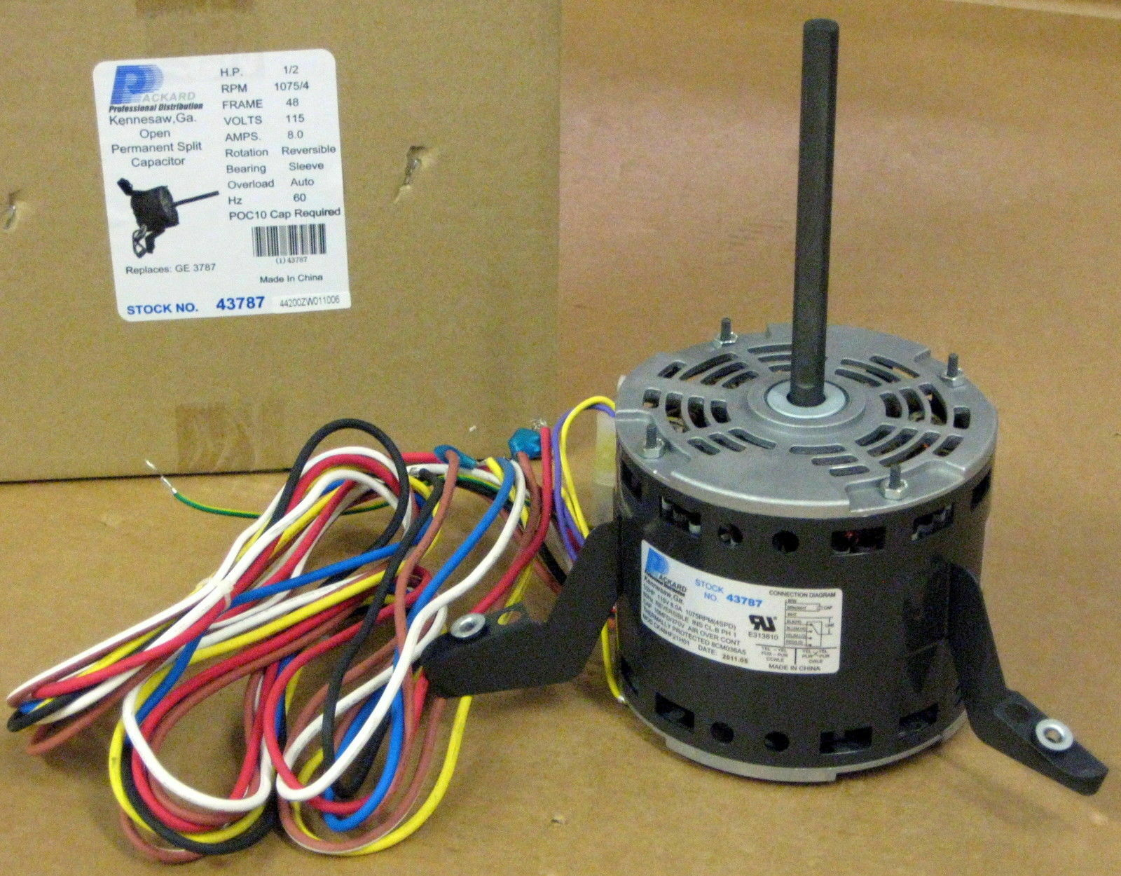 3787 A/C Blower Motor 1/2 HP 115 V 1075 RPM for Goodman 1 of 8 3787 A/C Blower  Motor ...