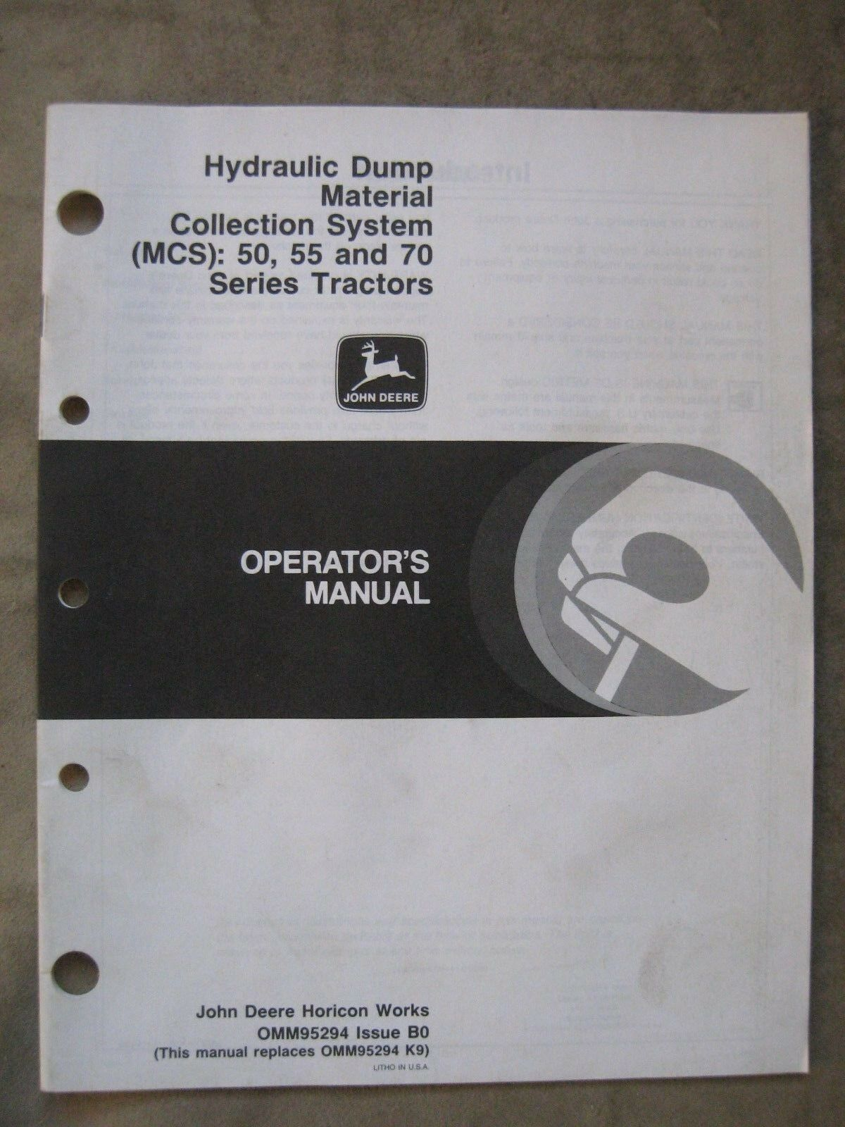 John Deere MCS Dump Bagger tractor operators manual 650 750 655 755 855 1  of 1Only 1 available ...