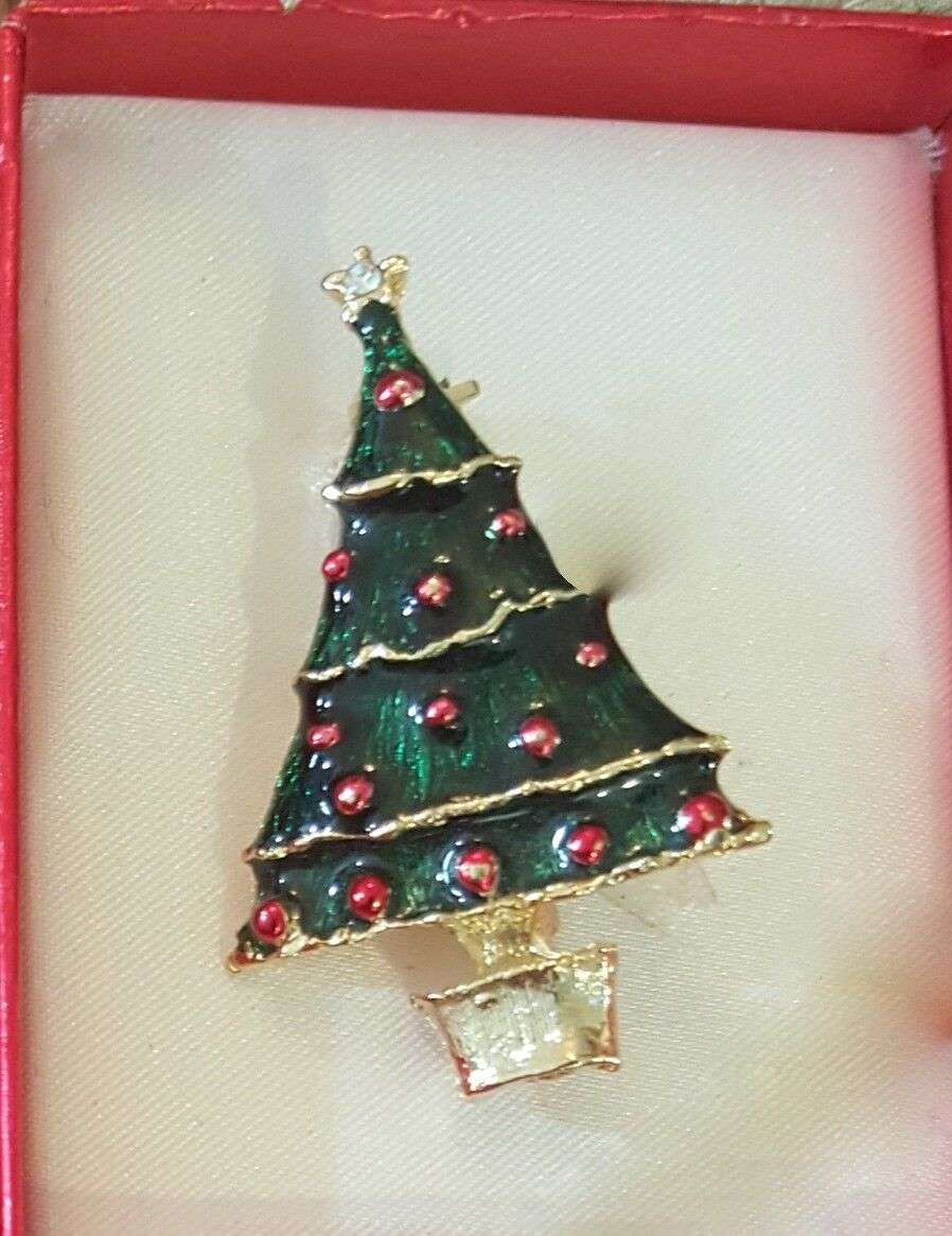 GERRY ENAMEL CHRISTMAS Tree Pin Red Ornaments Planter Brooch Vintage ...