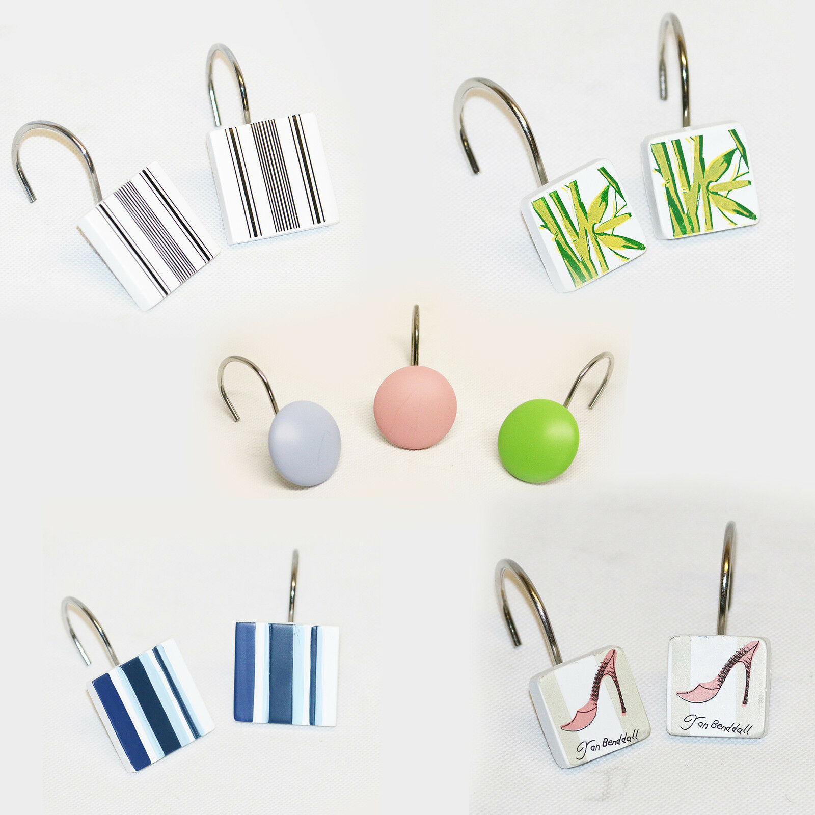 SHOWER Curtain Hook Rings Set Of 12 Ceramic Multi Coloured