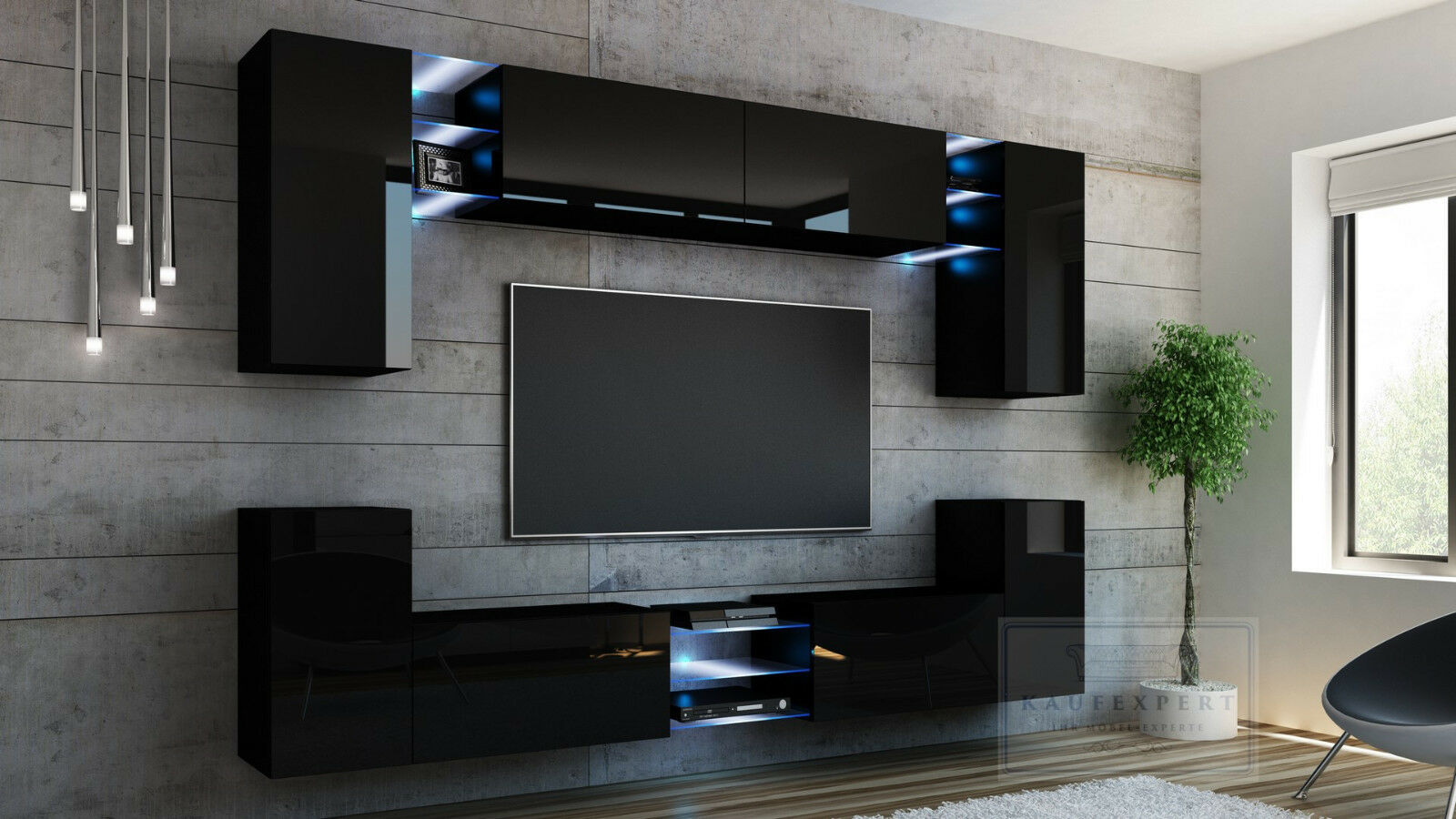 wohnwand galaxy schwarz hochglanz beleuchtung h ngewand anbauwand led mediawand eur 649 00. Black Bedroom Furniture Sets. Home Design Ideas