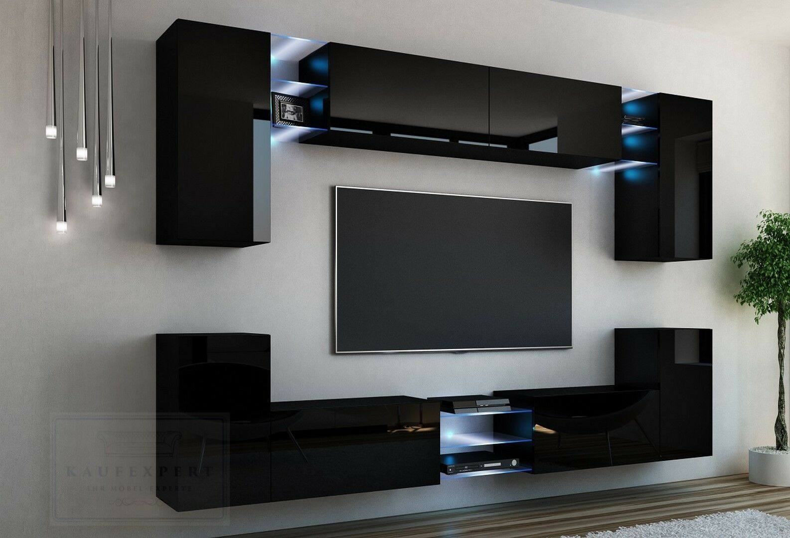 wohnwand galaxy schwarz hochglanz led beleuchtung anbauwand mediawand design eur 529 00. Black Bedroom Furniture Sets. Home Design Ideas
