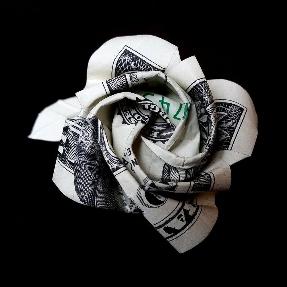 Origami Dollar One Rose Flower Money Handmade Gift 1 Bill Federal