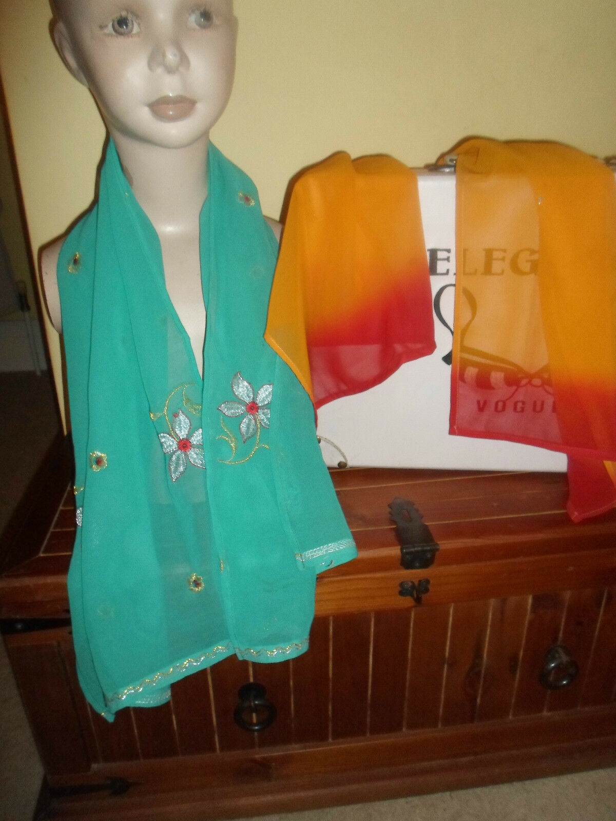 2 NEW Mixed Fibre Ladies Scarves 1 x Turquoise 1 x Orange+Red Gift Idea #47