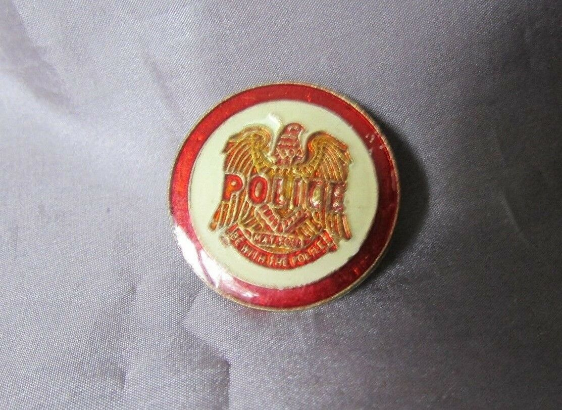 """Vintage Police Red  Gold Clear Coated  And White Round  Lapel Pin  1"""""""