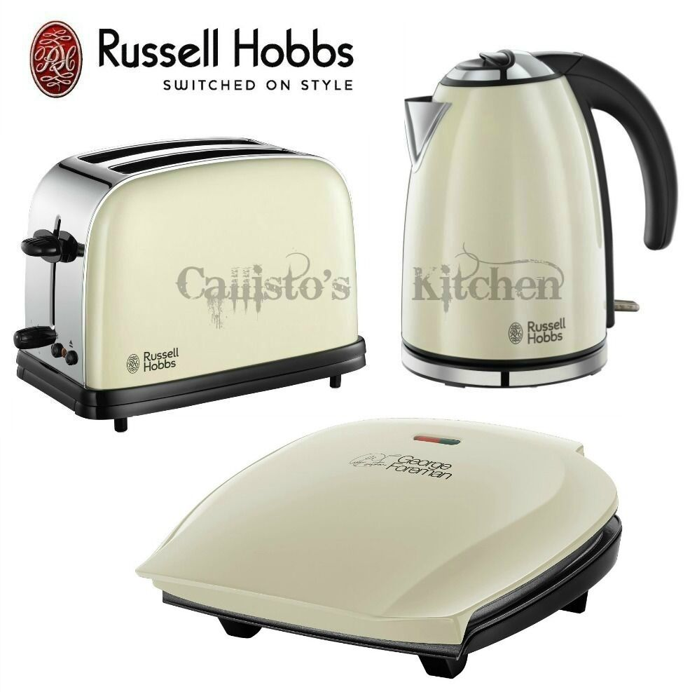 russell hobbs kettle and toaster set george foreman 5 portion grill cream new. Black Bedroom Furniture Sets. Home Design Ideas