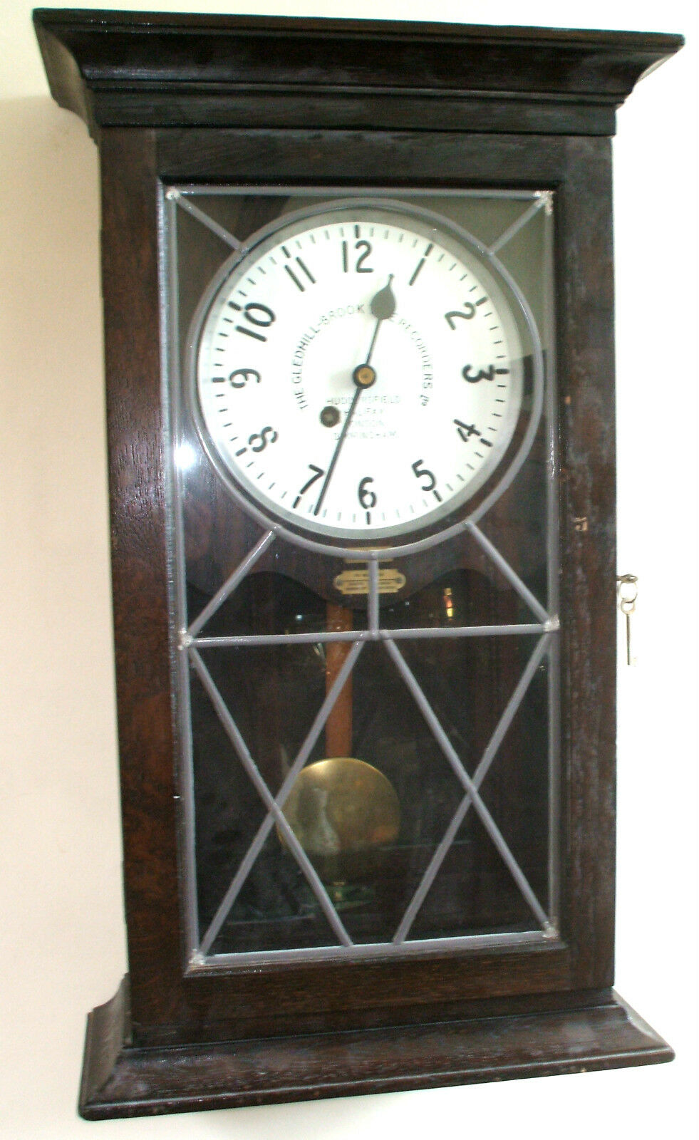 Gledhill - Brook Time Recorders Ltd Fusee Movement Converted to Oak Wall Clock