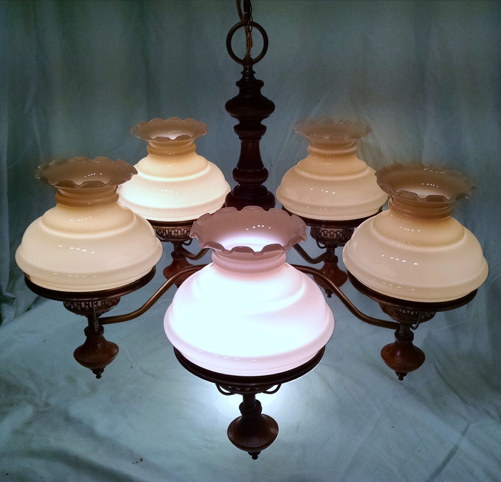 Vintage Wood And Antiqued Brass 5 Light Chandelier With Spotlight