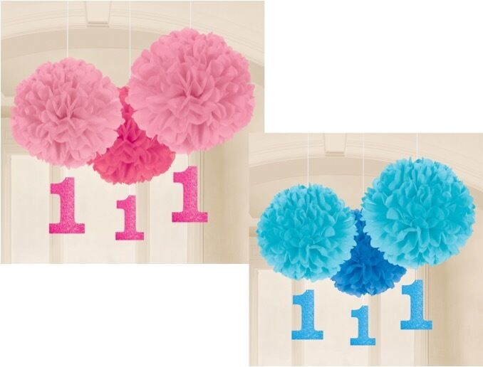 1st first birthday pink blue party 3 pack fluffy hanging for 1st birthday party decoration packs
