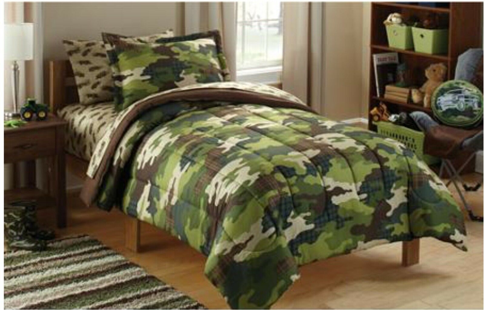 5pc CAMO Twin Single COMFORTER+SHAM+SHEETS Set Bed In A Bag Army