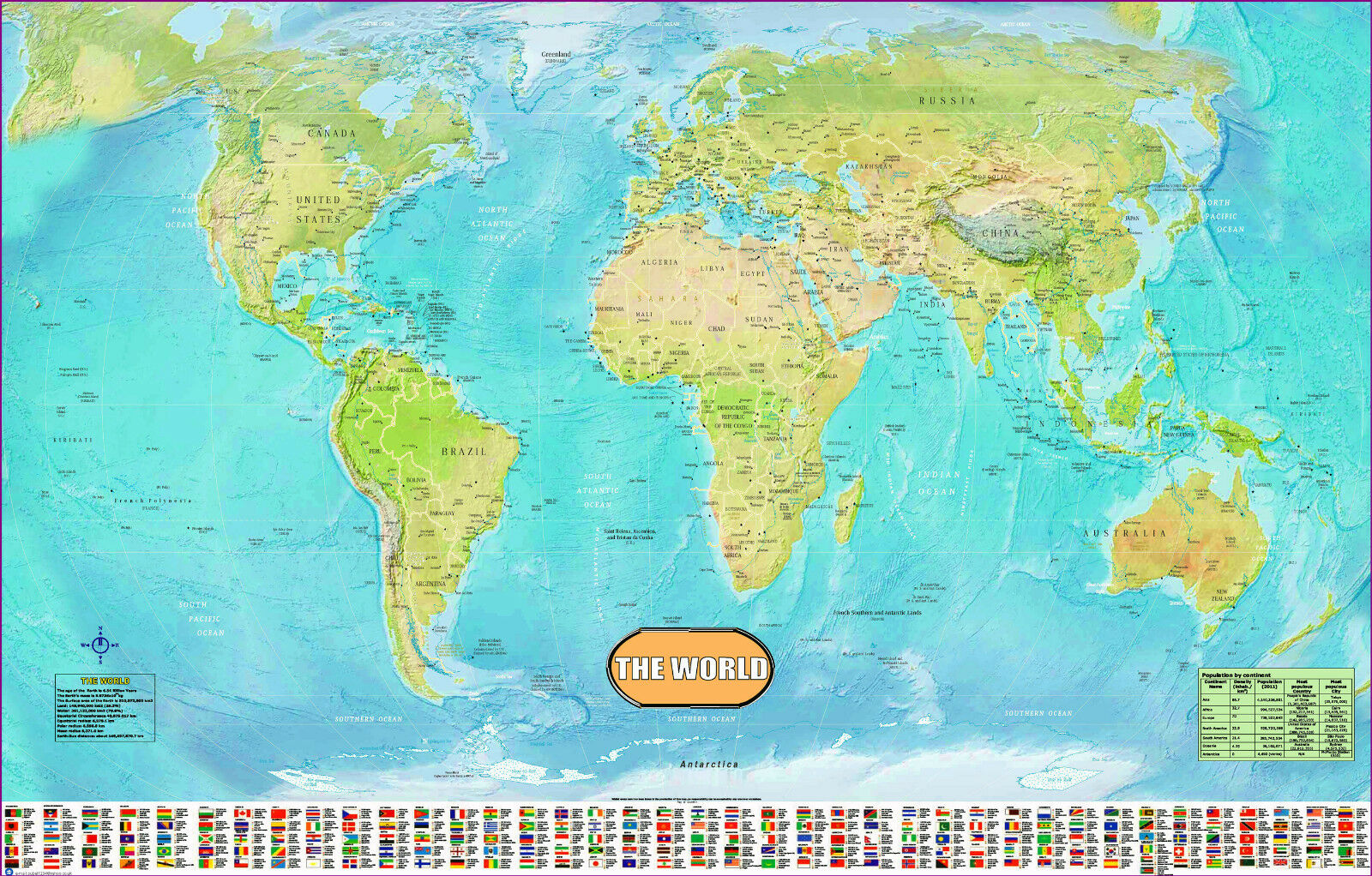 Large Huge laminated WORLD MAP poster wall chart flags educational A1 Size