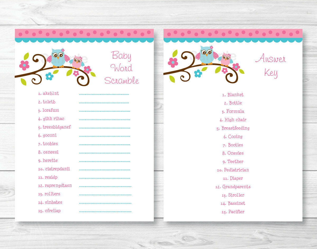 Pink Owl Printable Baby Shower Baby Word Scramble Game Cards