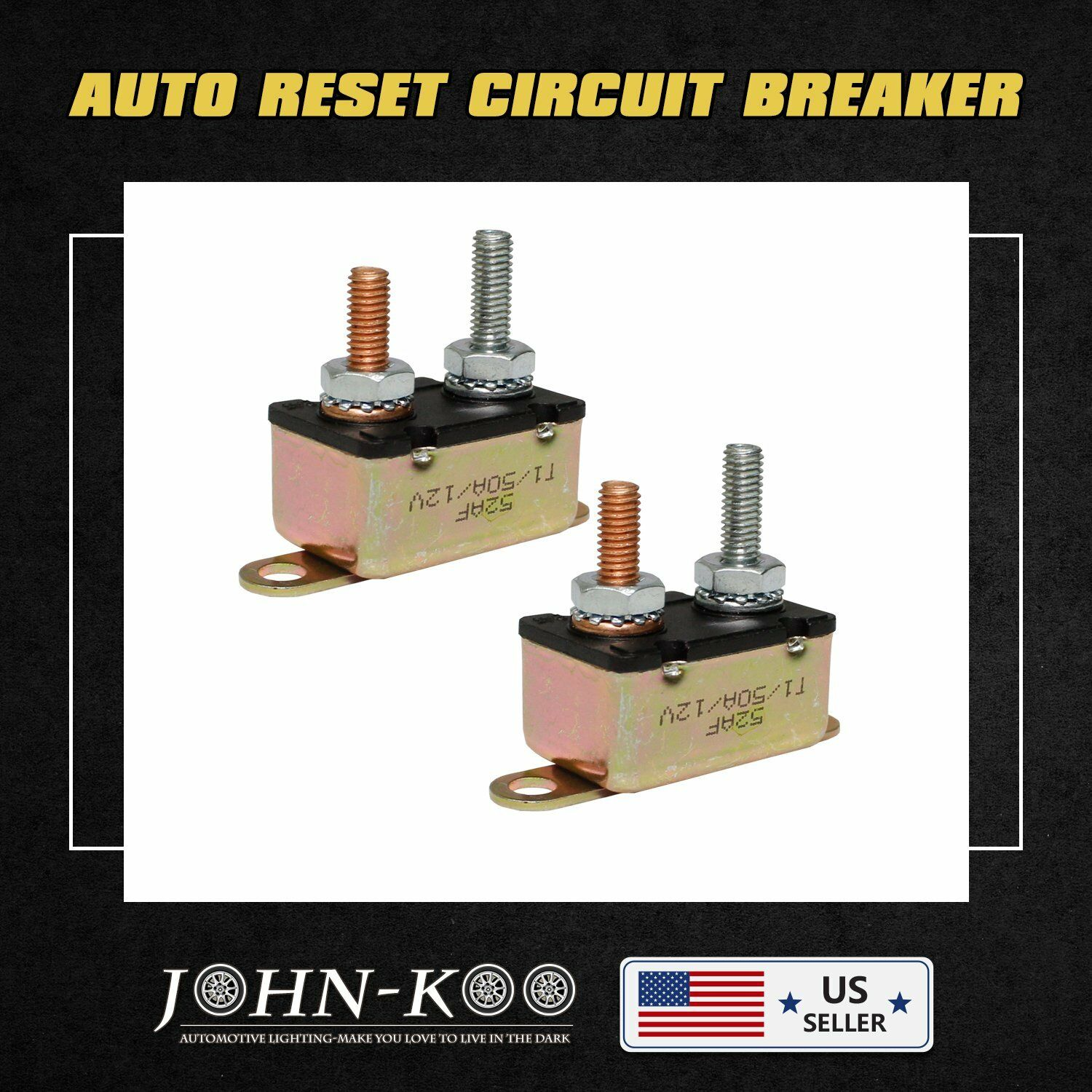 50a 12v Auto Automatic Fuse Reset Circuit Breaker Copper Stud Bolt Automotive Type 50 Amp 1 Of 5free Shipping