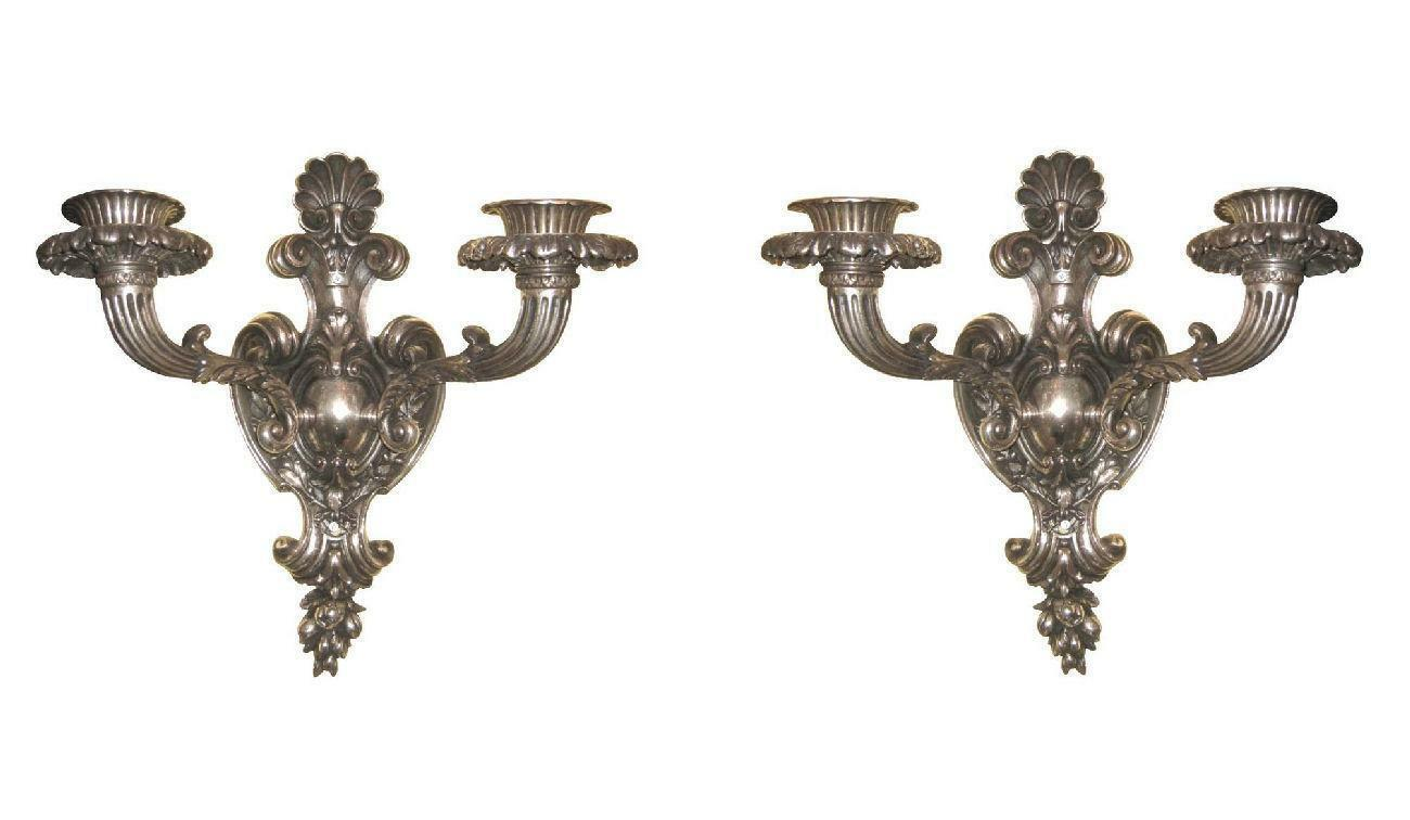 Pair Large Antique French Rococo Louis XVI Style Silvered Bronze Sconces