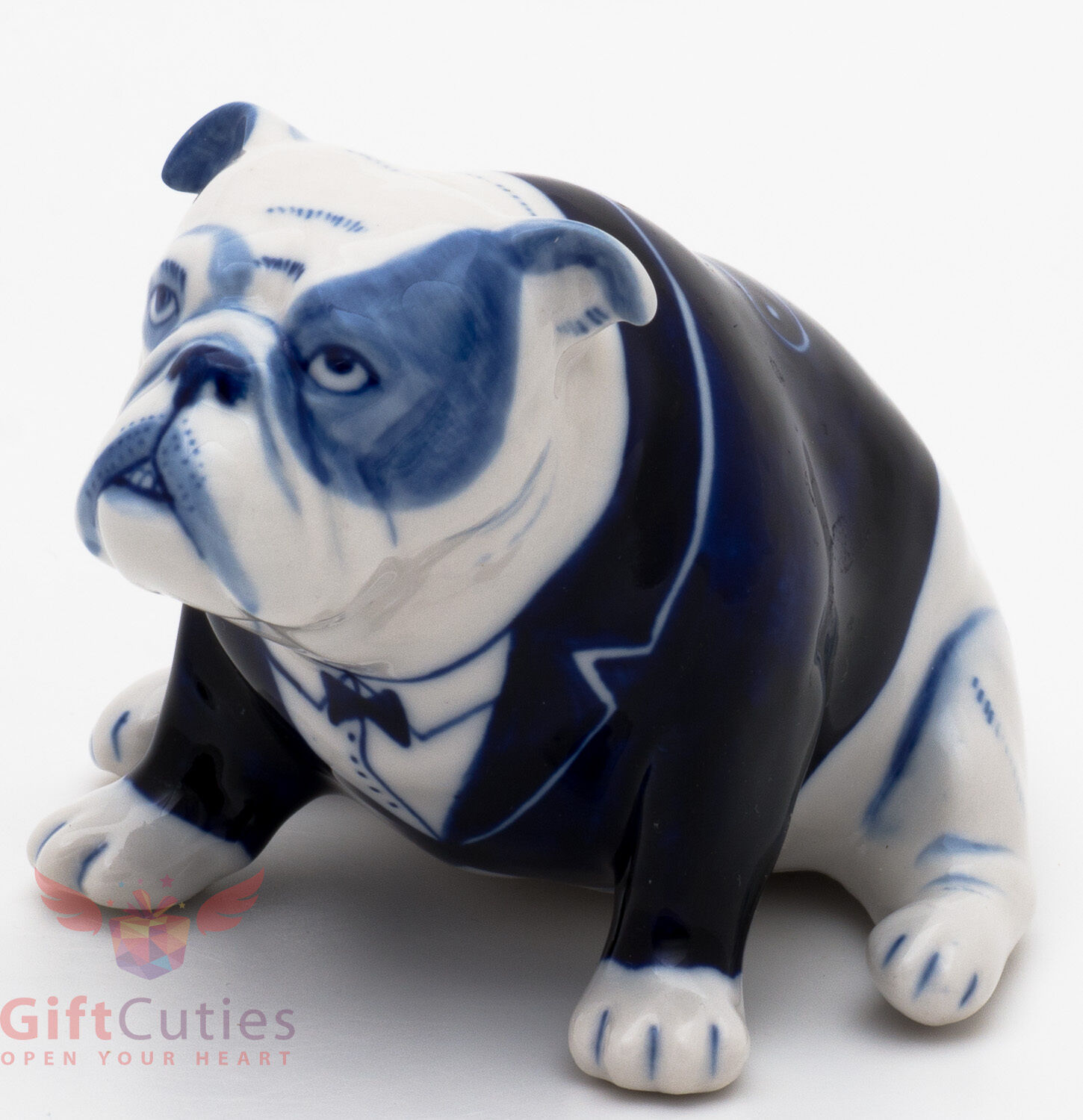 Porcelain English Bulldog Dog In Frak Figurine Gzhel Colors Handmade 1 Of 10only 4 Available