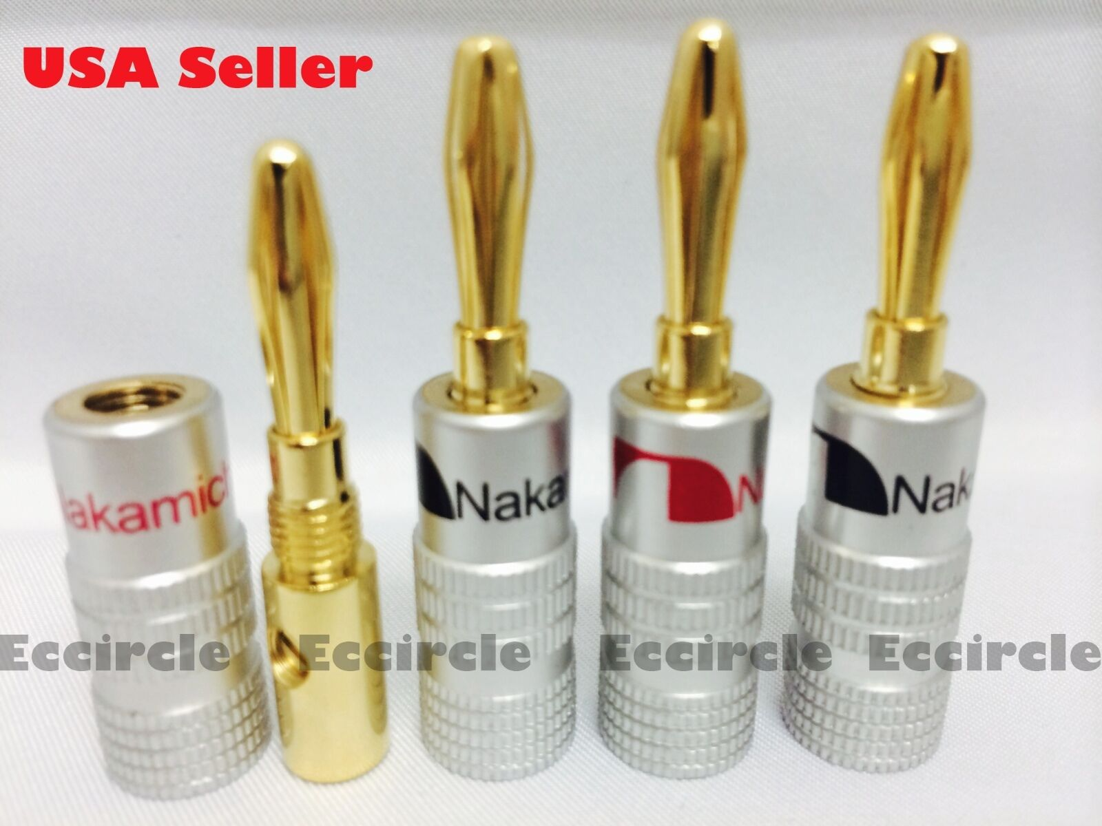 8 NAKAMICHI SPEAKER banana plug Adapter 4mm Wire connector 24K Gold ...