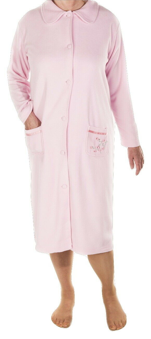 WOMENS SOFT FLEECE Dressing Gown,pink,blue,classic Button Up,as M&s ...
