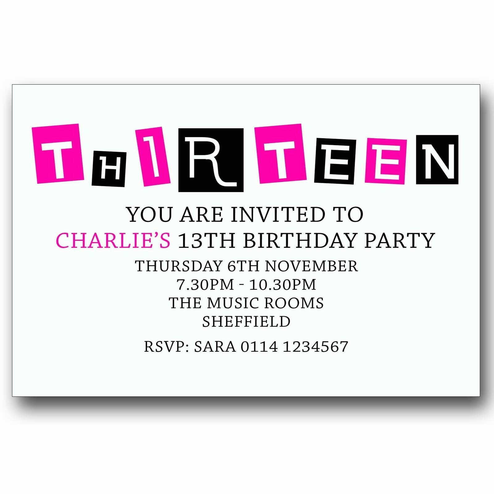 10 PERSONALISED BOYS & GIRLS Teenager 13th Birthday Party ...