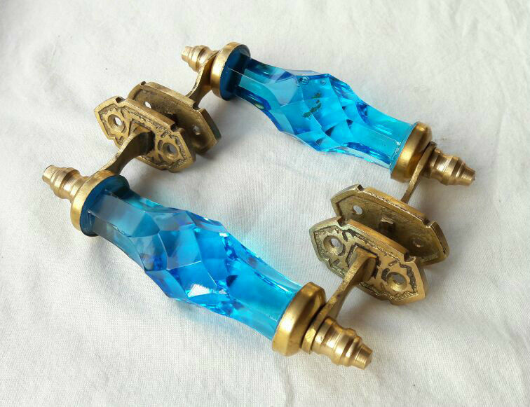 2 Pc Vintage Antique Style Beautiful Crystal/Cut Glass Door Handles, Collectible