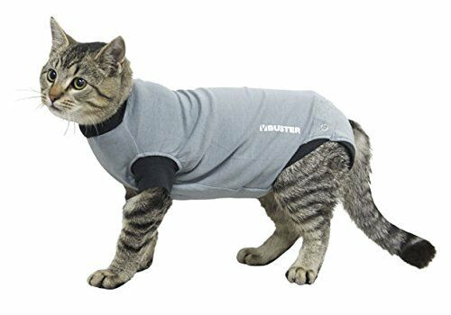 Buster Body Suit For Cats Grey/Black, 40CM XS, Premium Service, Fast Dispatch