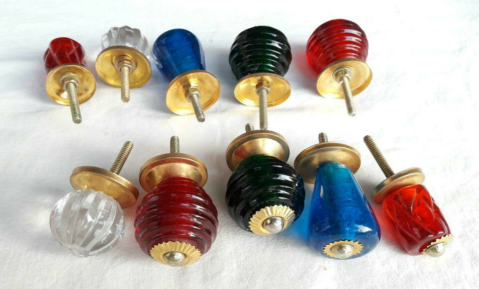 10 Pc Old Antique look Beautiful Crystal / Cut Glass Door Knobs , Collectible