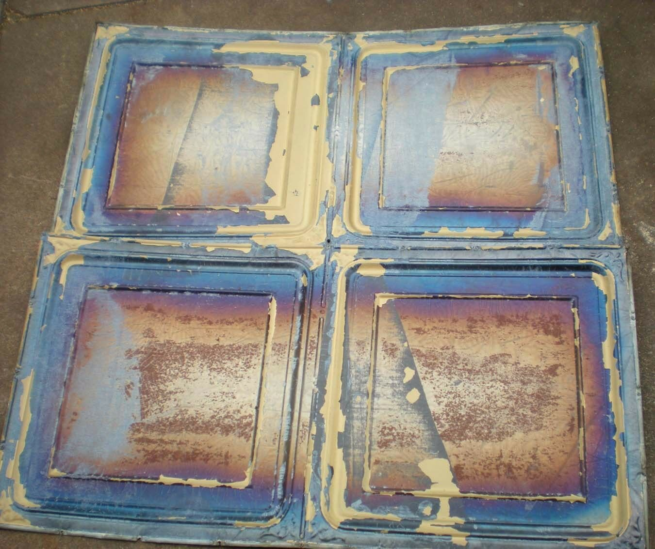 4 Antique Iridescent 24x24 Ceiling Tin Tiles Carnival Canvas Elegant Chic Frame