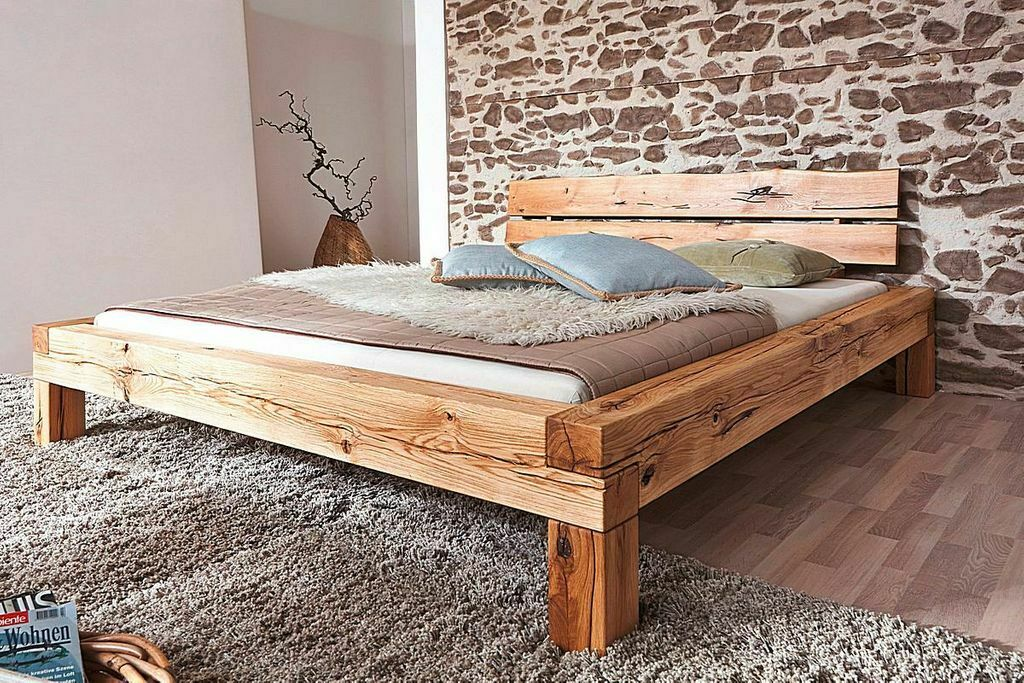 doppelbett 160x200 bettgestell balken bett rustikal holz wildeiche massiv ge lt eur. Black Bedroom Furniture Sets. Home Design Ideas