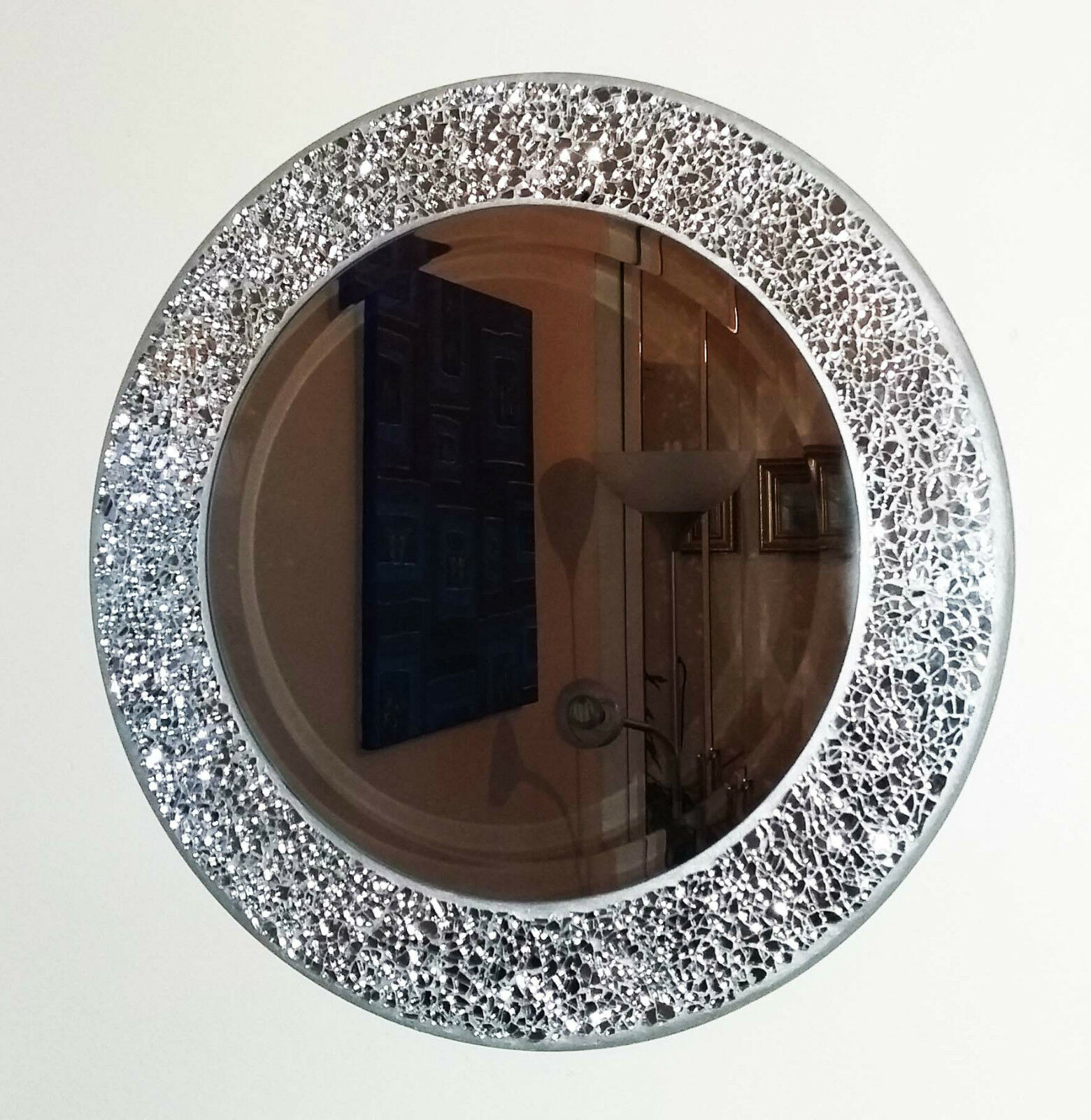 Round silver cracked mosaic wall mirror 40cm hand made new for Round silver wall mirror