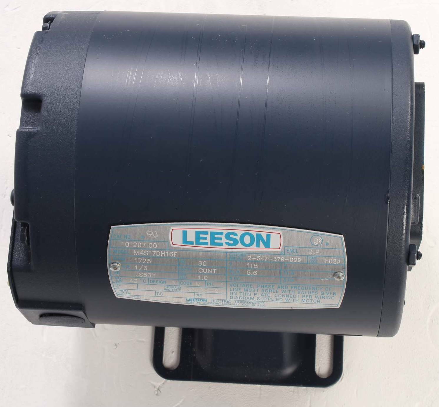 New M4s17dh16f Leeson 1 3hp Electric Motor 1725rpm Cat 10120700 Single Phase Wiring Diagram Of 9