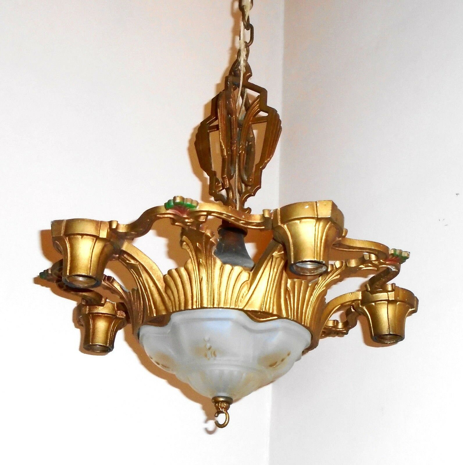 RARE Antique Art Nouveau Polychrome 1920s 6 Light Chandelier Ceiling Fixture