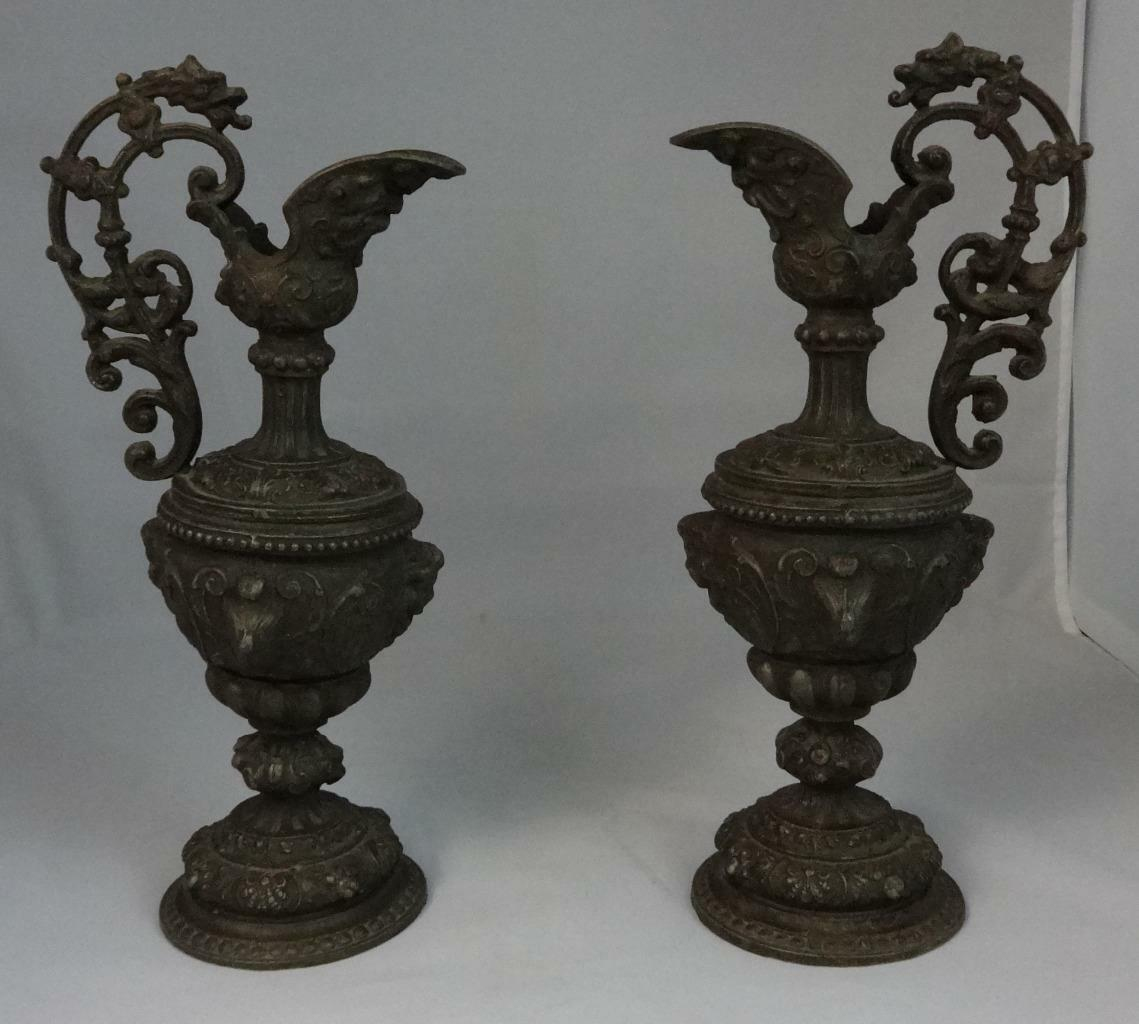 Antique Pair of Decorative Ornate Urns Molded Relief Cupid Like Figures