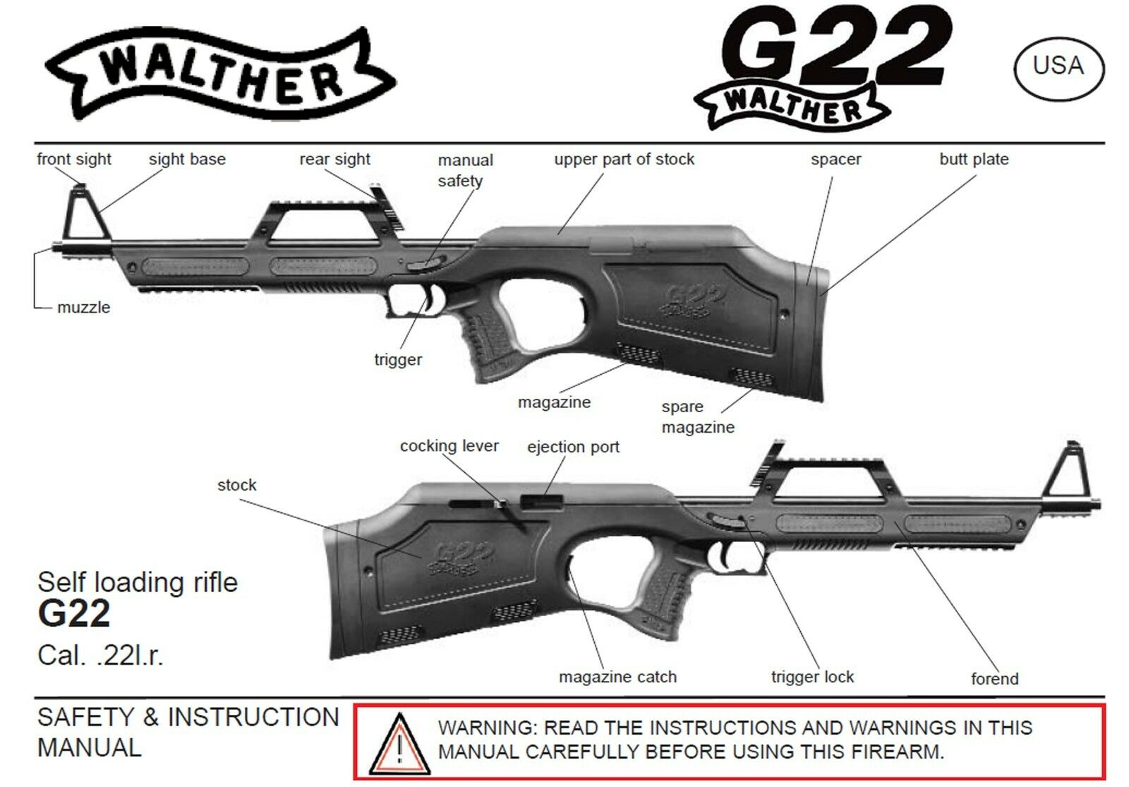 walther g22 rifle owners instruction and maintenance manual 6 99 rh picclick com Walther PPX Walther P99