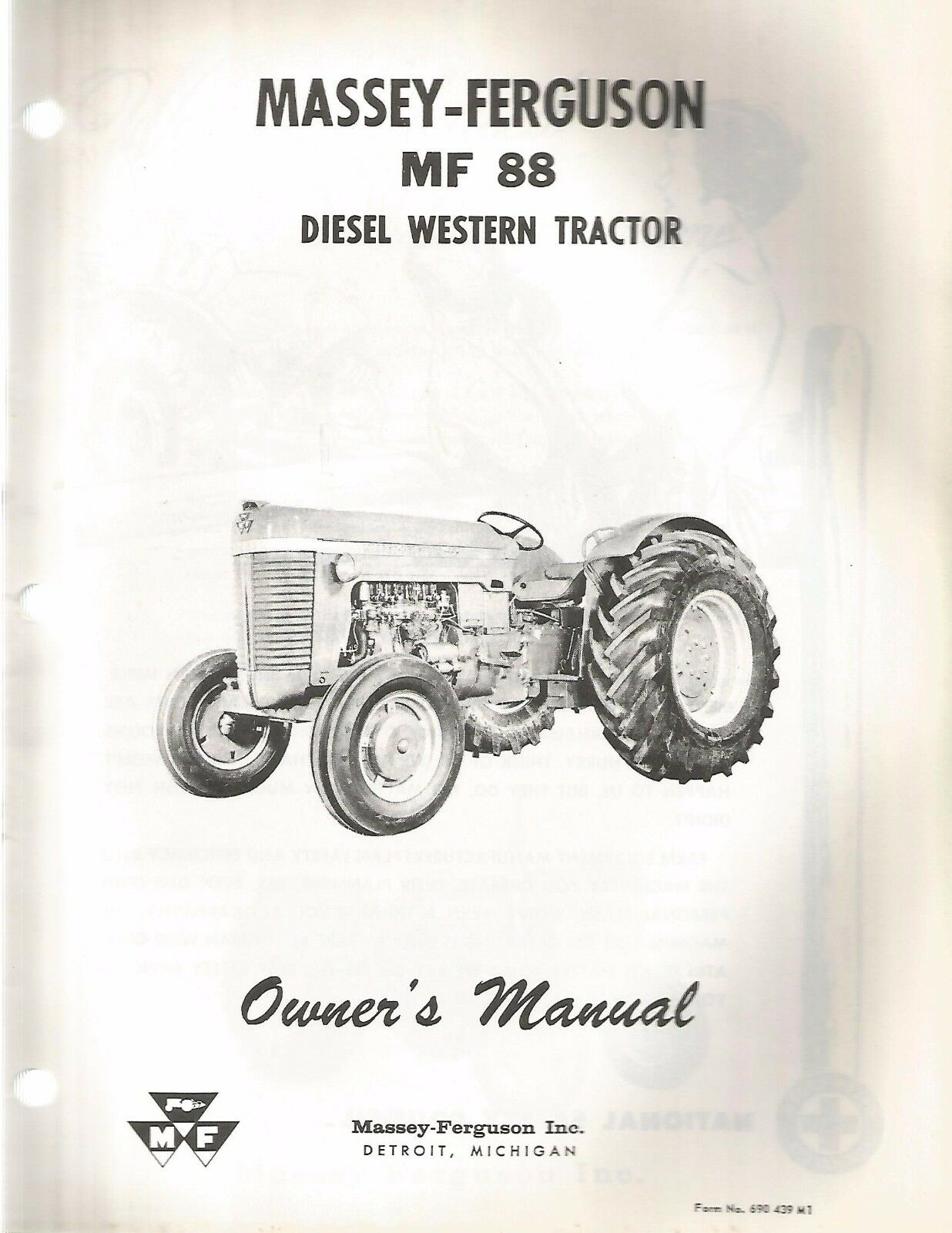 Massey Ferguson MF 88 Diesel Western Tractor Owner's Manual 1 of 1Only 2  available ...