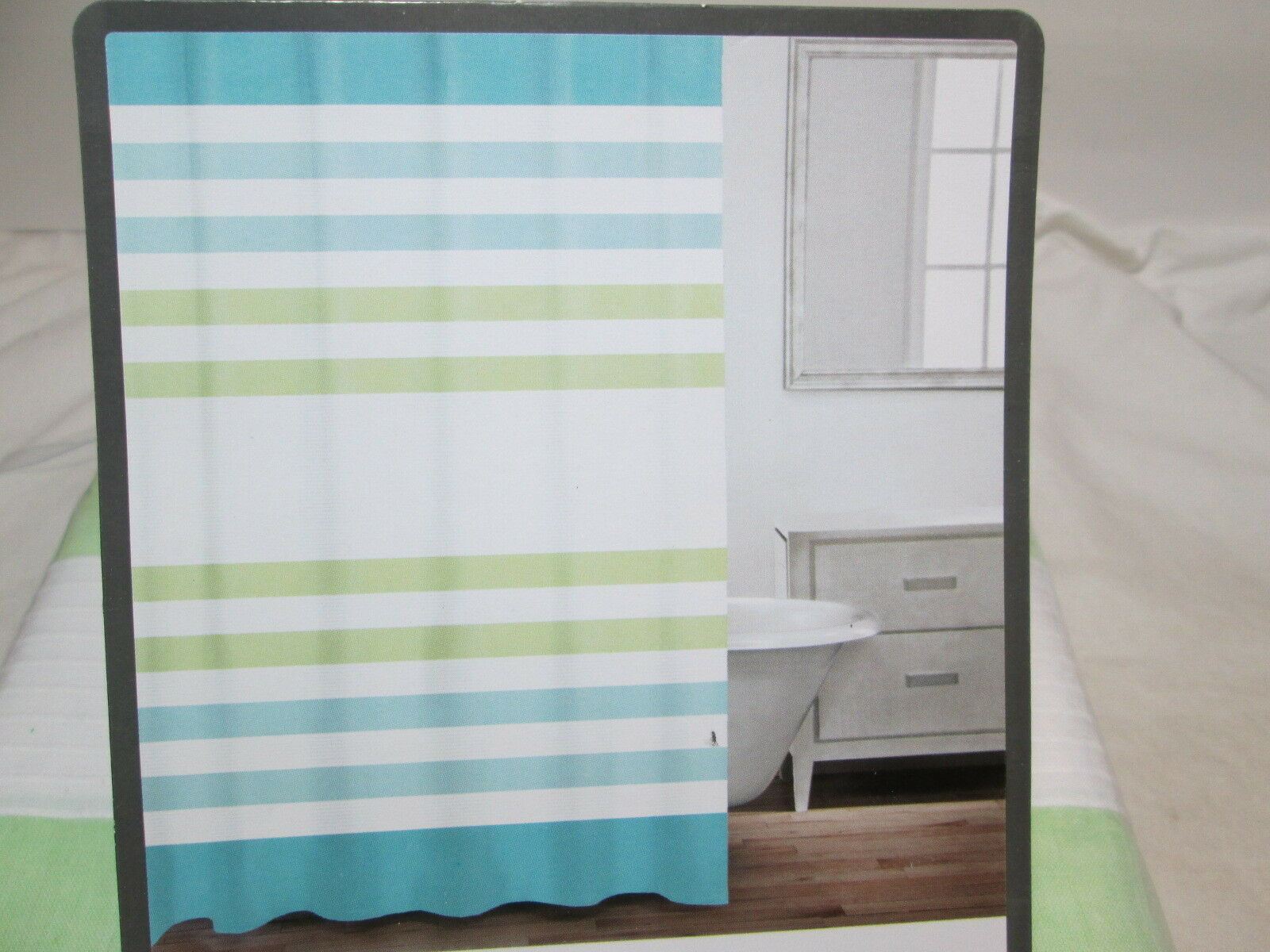 1 Of 6Only Available New Caro Home Cotton Shower Curtain 72x72 Blue Green White Horizontal Stripe