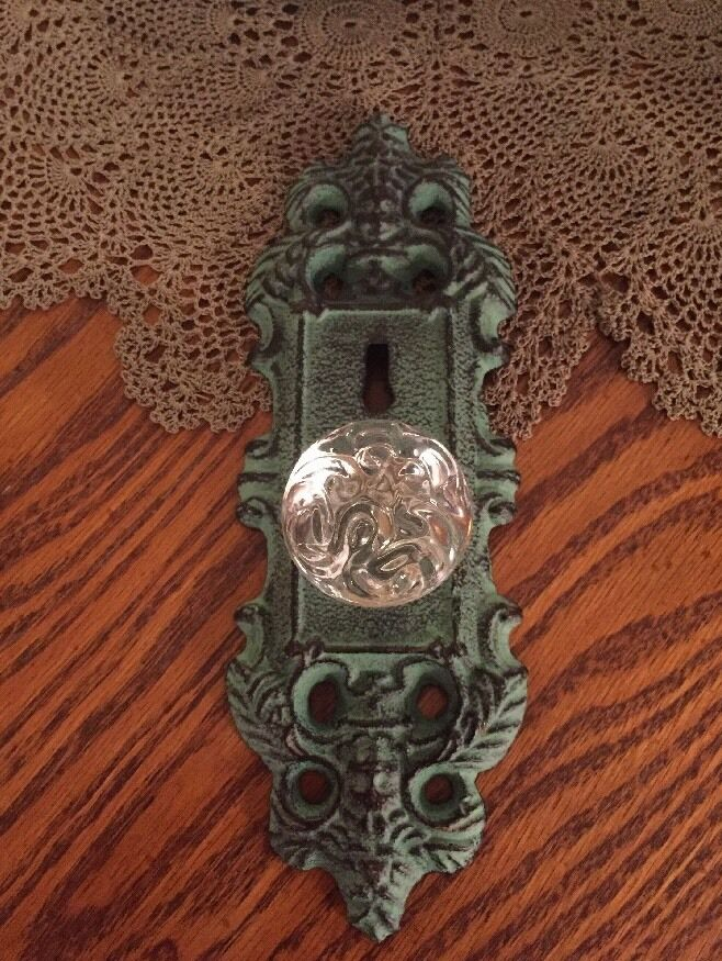 3 Cast Iron Door Plates With Acrylic/Glass Knob In Vintage Turquoise Teal Finish