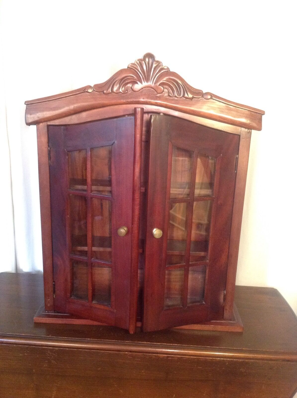 Antique Vintage Mahogany Curio Knick Knack Glass French Door Style Cabinet Picclick