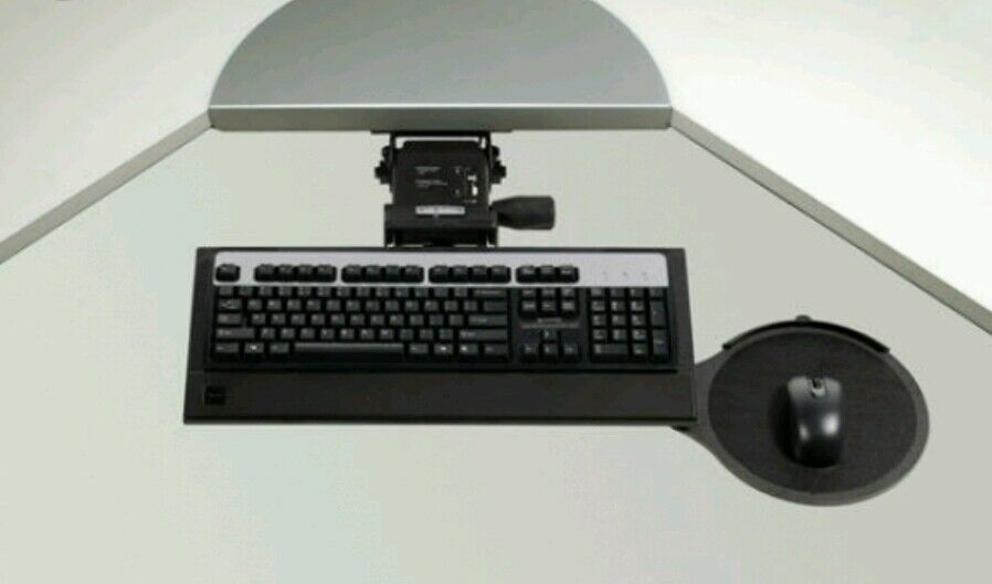 New Ergotech Ergonomic Computer Keyboard Tray Mouse Pad Articulating Under Desk 1 Of 11only 4 Available
