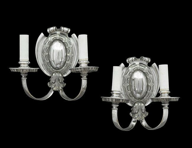 Pair Antique Regency Style Silvered Bronze Two Candle Sconces