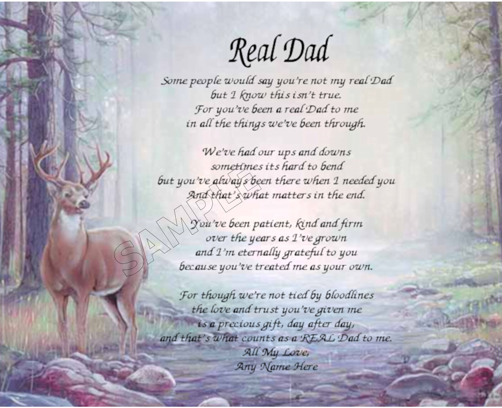 Real Dad Personalized Art Poem Memory Birthday Father's ...