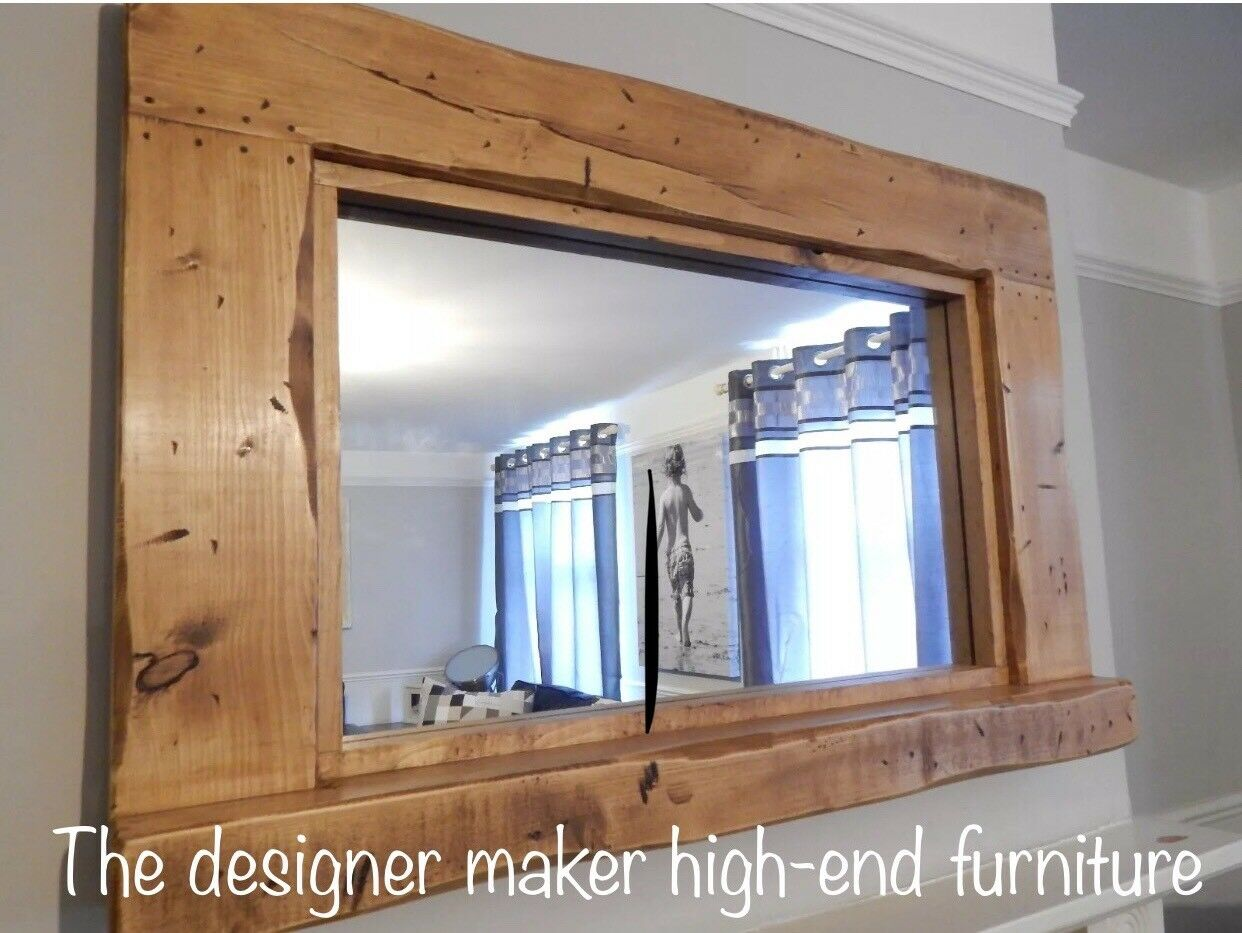 Large Reclaimed Wood Rustic Farmhouse Mirror With Candle 162210502552 on Rustic Wood Mirror Frames