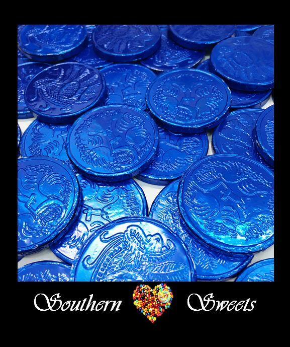 Blue Lollies Blue Foiled Milk Chocolate Coins 750G Approx 100Peices