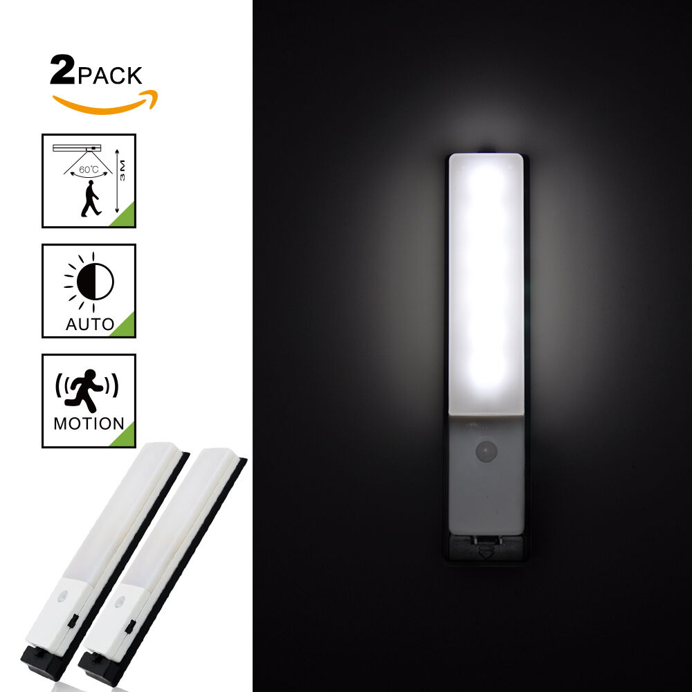 rechargeable lampe veilleuse led avec d tecteur de mouvement sans fil lot de 2 eur 22 99. Black Bedroom Furniture Sets. Home Design Ideas